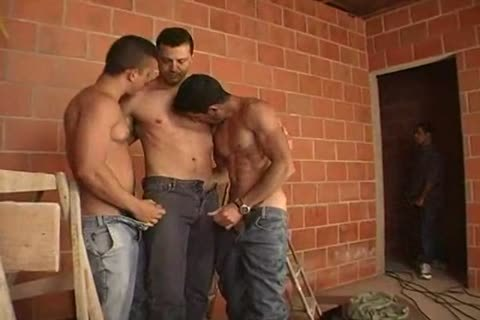 filthy gay males Threeway blowing