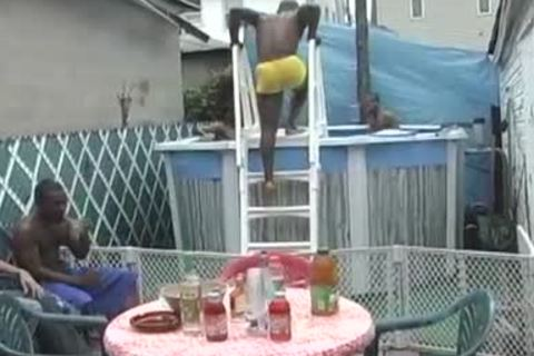 Pool Party Turns Into A naughty darksome homo group-sex