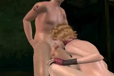 3D lady-man acquires double teamed