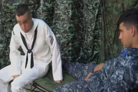 Filthy dudes in uniform hot blowing