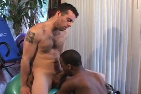 Wicked gay men threeway boning in wc