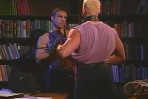 Vintage Muscled studs In Leather Stretching wazoo In Quiet Library