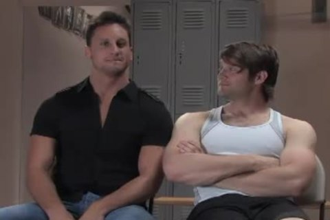 Two Muscle homosexuals servitude plow In Gym