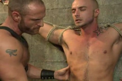 tied Up homo dude gets nailed By juicy Leather Daddy