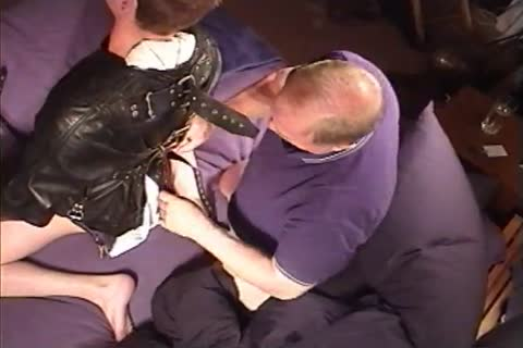 I Jack A Leather Straitjacketed chap while Turning Up The Juice On My Electrostim Machine.