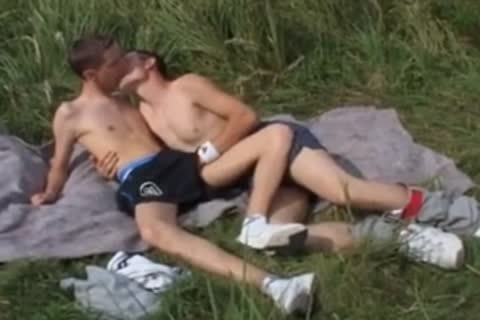 Gay straight anal action outdoors