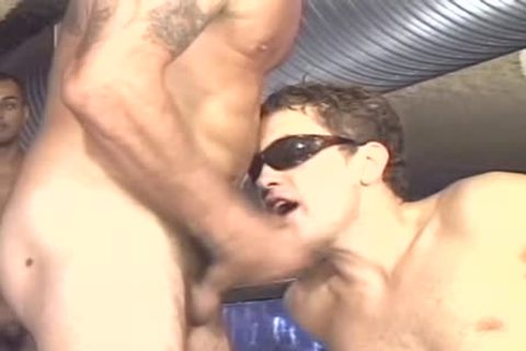 Three nasty men pounding with mega sperm