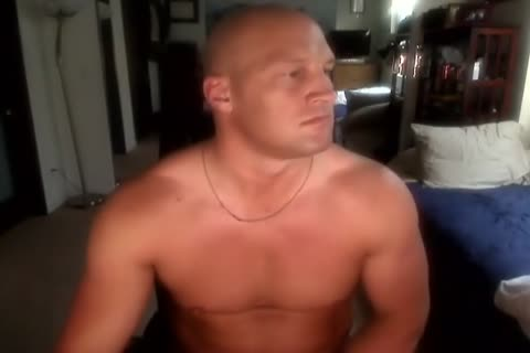 Bald Muscle stud stroking And attractive cum shot