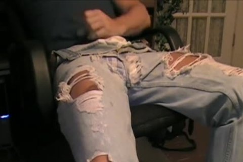 My Son Has A favorite Pair Of Ripped Jeans That he loves To Wear With His dark Spandex. And Dam Does he Look delicious In 'em. So I Borrowed 'em To Jack Off A Load One Day.
