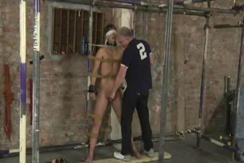Restrained bare For Caning sex tool And Cumming