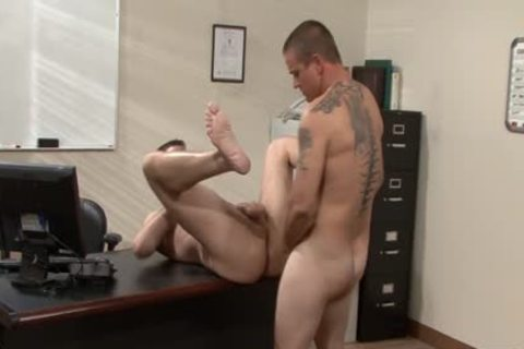 Tattooed homosexual males hammering In The Office
