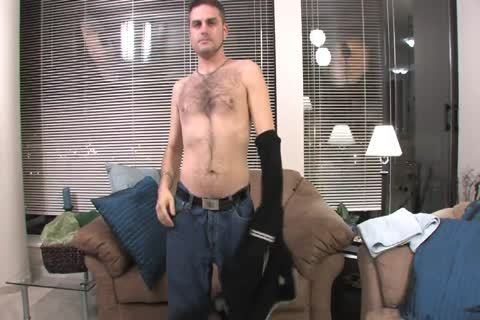 bushy stud Lays On The daybed And Starts Playing With His Hard Pole
