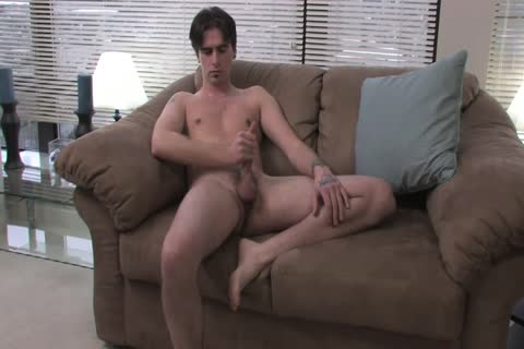 Tattoed Troy Massages His weenie erect Alone For pleasure