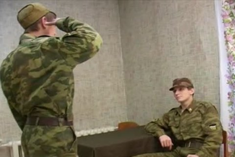 Soldier receives A spanking previous to stroking!