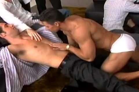 A Striptease That Leads To A large gay fuckfest!