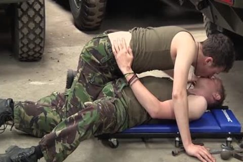 Concupiscent boys in uniform fucking cumming