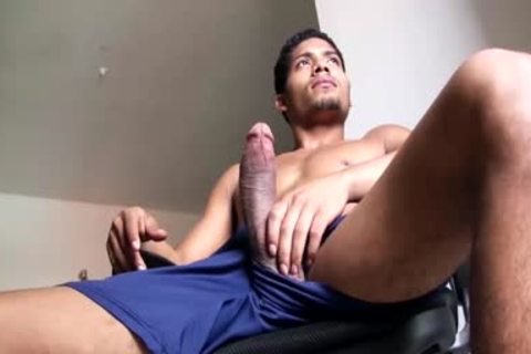 large Dicked handsome Latino fellow Is Working His monstrous Load