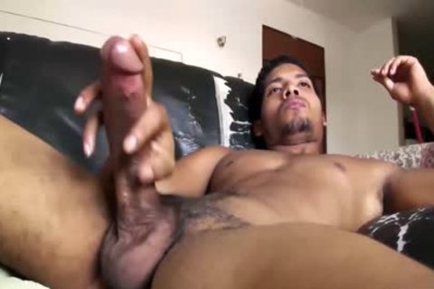 large Dicked gracious Latino fellow Is Working His big Load