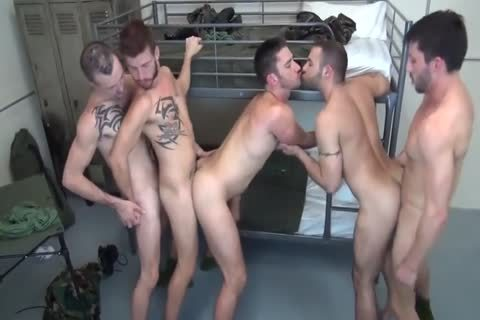 5 Military guys bareback Double plow In Barracks