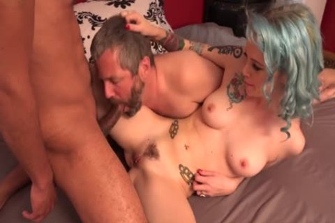 Blue Haired Lady nails With Bi men