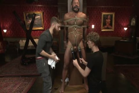 Fastened lad acquires hanged teased