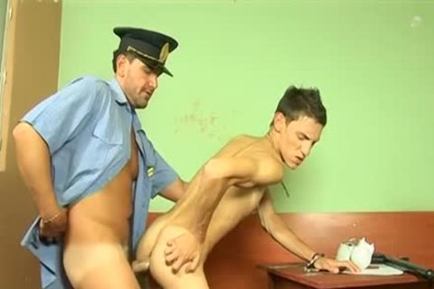 Police Officer Roberts nails stunning twink Ian On A Office Desk
