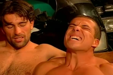 Muscled Biker males rough And raw fuck Feast homo orgy