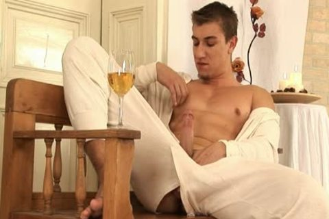 This handsome homosexual man Comes Home And Drinks Some Wine before His Has A Sensual Self Devotion Session