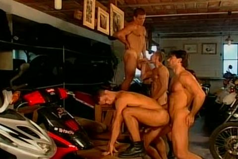 Muscled Biker guys coarse And bare pound Feast gay orgy