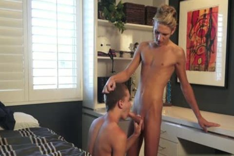 Brunette hair twink anal job with facial