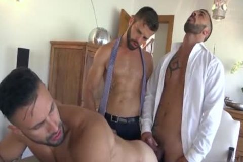 Muscle homosexual trio And spunk flow