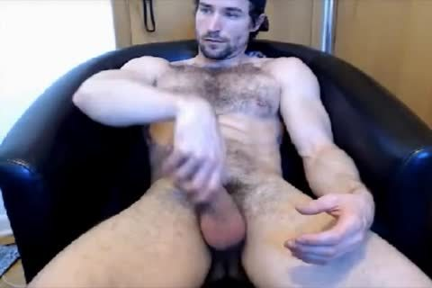 handsome hairy guy cook jerking On cam