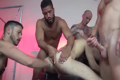 hot blonde got gangbanged in her living room by a group of very handsome guys