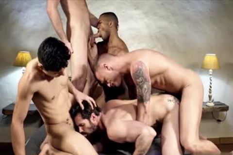 Nasty homosexual double penetration and sperm flow