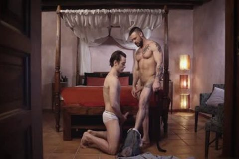 Tattoo homosexual domination with cumshot