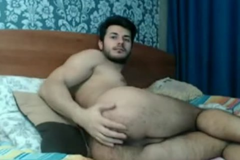hairy Rear guy Playing On web camera