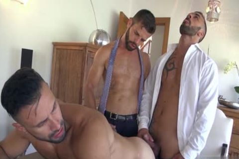 Muscle homosexual 3some With spunk flow