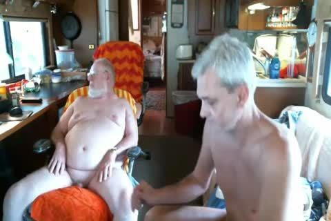 Daddy engulf daddy man On webcam