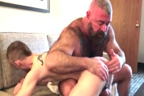 Tasty daddy males barebacking