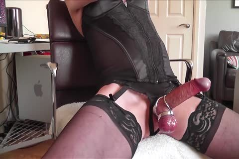 dark Corset, nylons, steel Rings And love juice