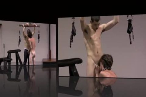 bondage twinks Play In Dungeon Whipping oral stimulation homosexual sadomasochism
