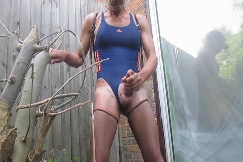 Outdoor spooge In Swimsuit And pantyhose