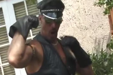 Leather Muscle daddy stroking