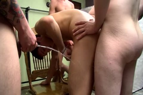 cock-sucker Bryce Corbin Blindfolded And urinated On fuckfest