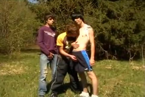 three-some teens On First Time Barebacking Outdoor