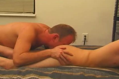 Skinny brunette twink receives His knob Sucked By avid dude