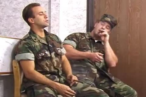 Buff Army boy Smoked A Cigar previous to pooper plow