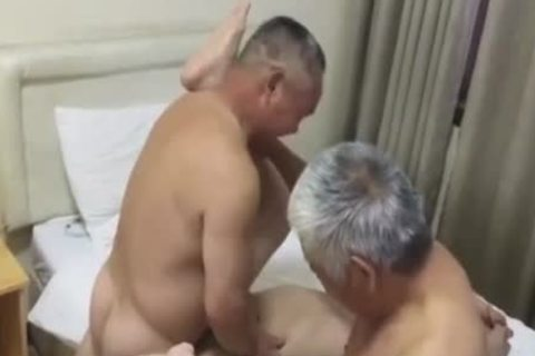 Three older Chinese dudes Have Sex