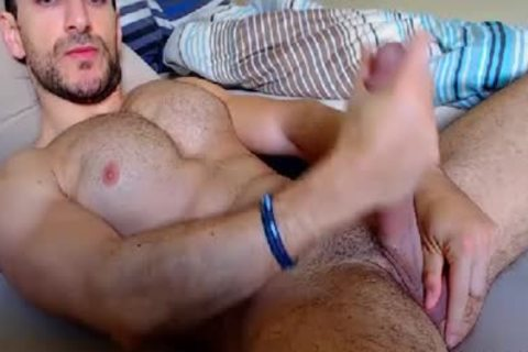 Muscle Hoy boy Strokes His large penis