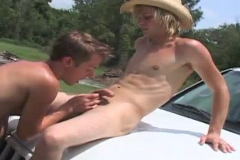 Two homosexual boyz suck in a forest car